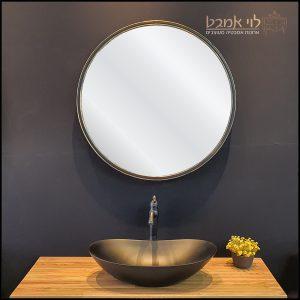 מראה עגולה מסגרת שחורה 85 לארון אמבטיה