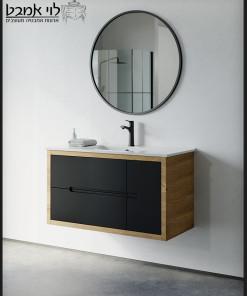 ארון אמבטיה דגם אלון משולב שחור תלוי משטח כיור