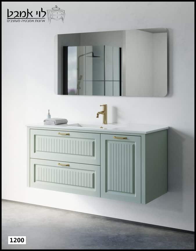 """ארון אמבטיה דגם רוי תלוי ירוק ענתיק משטח כיור רוחב 120 ס""""מ"""