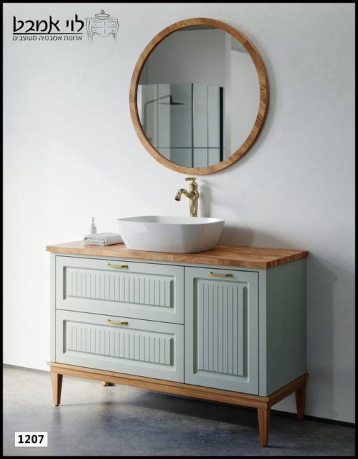 """ארון אמבטיה דגם רוי ירוק ענתיק מט רוחב 120 ס""""מ משטח בוצ'ר עומד על רגליים"""