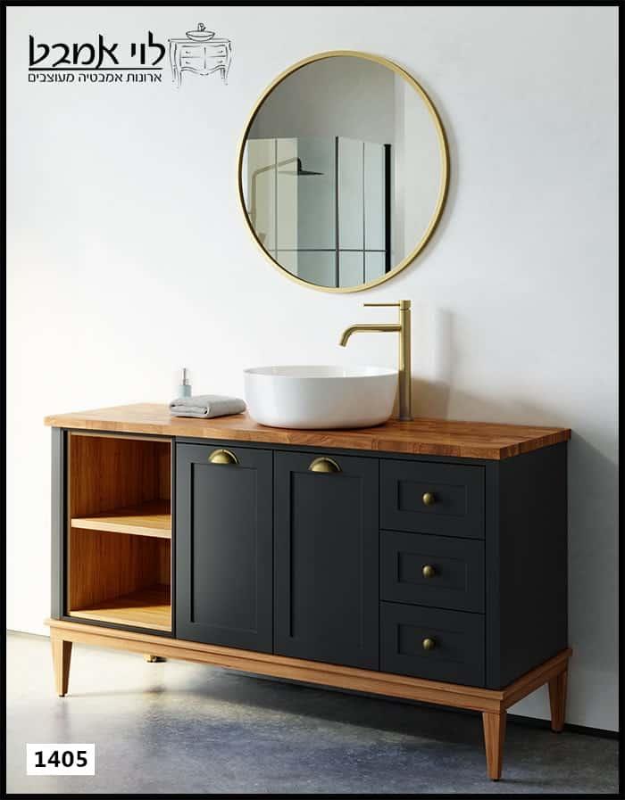 """ארון אמבטיה דגם שחור רוחב 140 ס""""מ עם רגליים"""