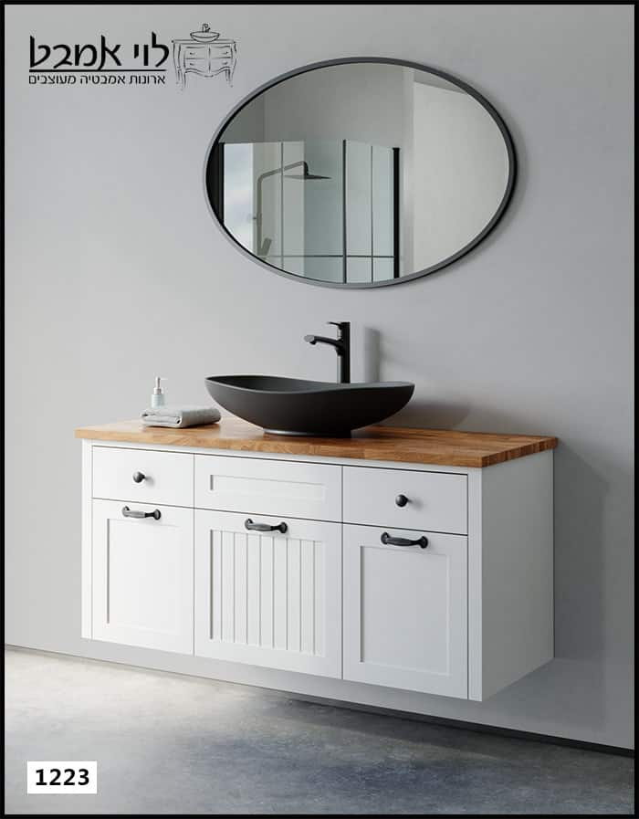 """ארון אמבטיה דגם ונציה רוחב 120 ס""""מ לבן תלוי"""