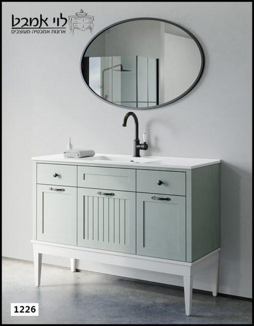 """ארון אמבטיה דגם ונציה רוחב 120 ס""""מ ירוק חאקי עם רגליים"""