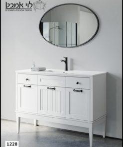 """ארון אמבטיה דגם ונציה רוחב 120 ס""""מ לבן עם רגליים"""