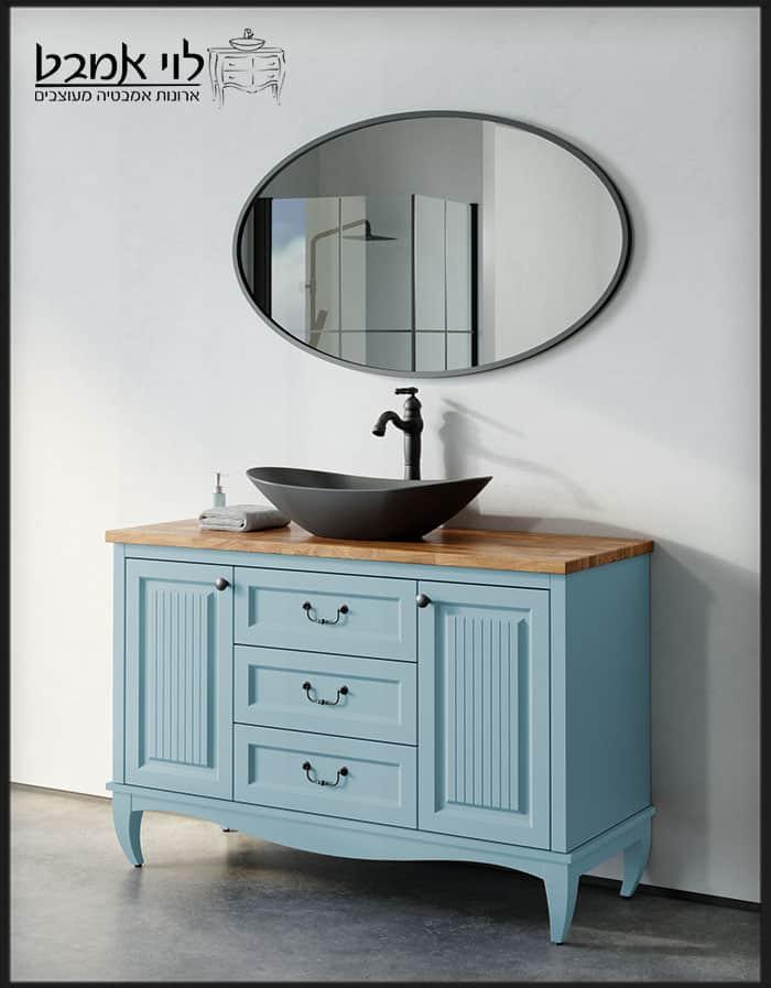 """ארון אמבטיה דגם אדל רוחב 120 ס""""מ תכלת עומד עם רגלים"""