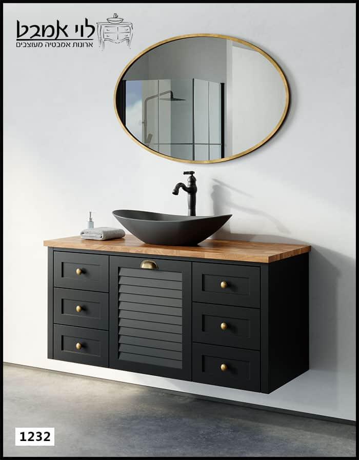 """ארון אמבטיה דגם ליאו רוחב 120 ס""""מ תלוי שחור"""