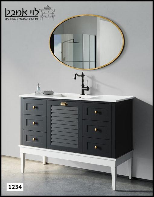 """ארון אמבטיה דגם ליאו רוחב 120 ס""""מ שחור עם רגליים"""