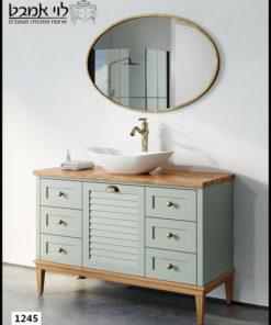 """ארון אמבטיה דגם ליאו רוחב 120 ס""""מ ירוק חאקי עם רגליים"""