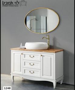 """ארון אמבטיה דגם אדל רוחב 120 ס""""מ לבן עם רגליים"""