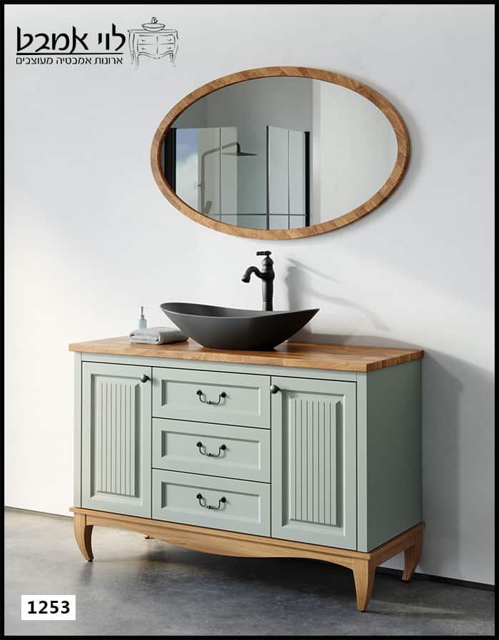ארון אמבטיה דגם אדל ירוק חאקי עומד על רגליים