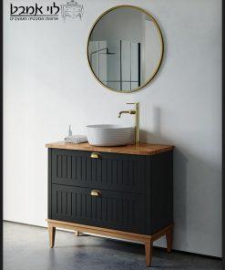 ארון אמבטיה חגית עומד רגליים שחור משטח בוצ'ר 90 ס