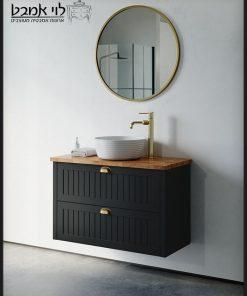 ארון אמבטיה חגית תלוי שחור משטח בוצ'ר 90 ס