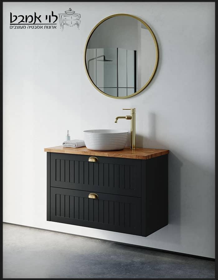 """ארון אמבטיה חגית תלוי שחור משטח בוצ'ר 90 ס""""מ עומק 40"""
