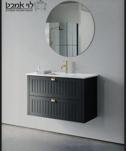 ארון אמבטיה חגית תלוי שחור משטח כיור 90 ס