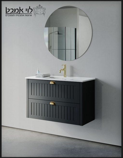 """ארון אמבטיה חגית תלוי שחור משטח כיור 90 ס""""מ עומק 40"""