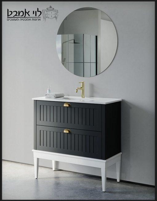 """ארון אמבטיה חגית עומד רגליים שחור משטח כיור 90 ס""""מ עומק 40"""