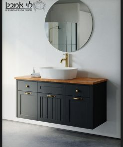 """ארון אמבטיה דגם ונציה תלוי רוחב 120 ס""""מ שחור משטח בוצ'ר"""
