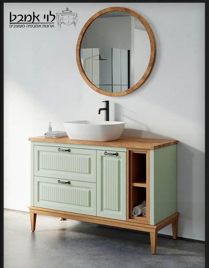 """ארון אמבטיה דגם רוי רוחב 120 ס""""מ ירוק ענתיק עם רגליים"""
