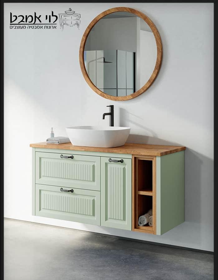 """ארון אמבטיה דגם רוי רוחב 120 ס""""מ ירוק ענתיק תלוי"""