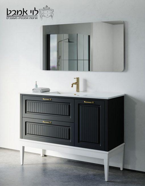 """ארון אמבטיה דגם רוי רוחב 120 ס""""מ שחור משטח כיור עם רגליים"""